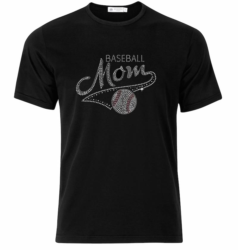 Baseball Mom Sequence Black T-Shirt