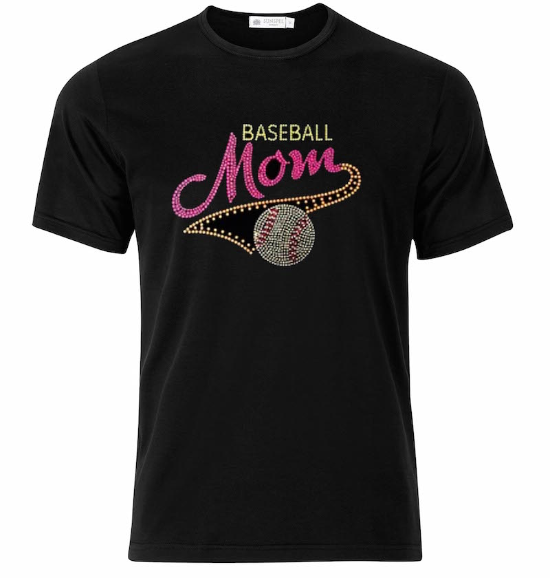"Baseball ""Pink Mom"" in Sequence Black T-Shirt"